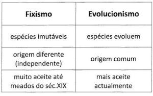 Fixismo e evolucionismo-tabela